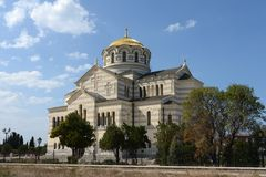 Chersonese, St. Vladimir's Cathedral. Ancient Greek Chersonesus Taurica near Sevastopol in Crimea. Stock Images