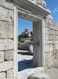 Chersonese, wall of Basilica 1935 (VI-X c.),look through on Vladimir Cathedral in background, Crimea Stock Image