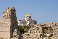 Chersonesos ruins. St. Vladimir cathedral at Chersonesos ruins Royalty Free Stock Images