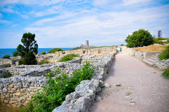 Chersonesos Taurica Khersones. The ruins of the ancient city of Chersonesos Taurica (Khersones) on the coast of the Crimea royalty free stock images