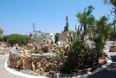 Chersonissos Cypern, Grekland - 31 07 2013: Trädgård av gröna taggiga kakturs som växer under den bränning solen och en djup himm royaltyfri foto
