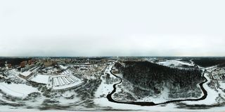Chertanovo区,莫斯科360度全景鸟瞰图  免版税库存照片