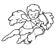 Cherub Cupid. Outline pen and ink version of a cherub cupid about to fire his arrow of love from his famous bow Stock Photo