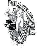 Cherub with gun illustration. A T-shirt design, with a smirking cherub, holding a handgun with the words Fat Hared Dangerous on the side Royalty Free Stock Photo