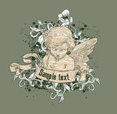 Cherub Illustration. An illustration of a cherub with a banner in front Royalty Free Stock Photo