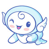 The Cherub Mascot is crawling around the room. Angel Character D Stock Images