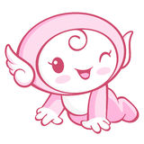 The Cherub Mascot is crawling around the room. Angel Character D Stock Image