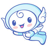 Cherub Mascot flying to the sky. Angel Character Design Series. Royalty Free Stock Images