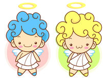 Cherub Mascot flying to the sky. Angel Character Design Series. Stock Photography