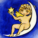 Cherub on the Moon Stock Photography