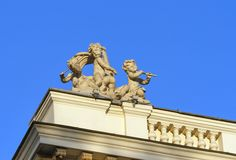 Cherub statue on the roof of Odessa opera theater Royalty Free Stock Image