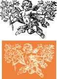 Cherub whit sprig vector illustration