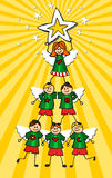 Cherubs Christmas Tree Royalty Free Stock Images