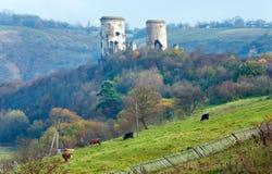 Chervonohorod城堡废墟(乌克兰) 免版税库存照片