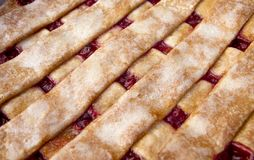 Chery Pie withTop Lattice Crust Royalty Free Stock Photography