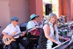 Cheryl Thurston, Danny Shannon y Madelyn Roberts de la 52.a calle Jazz Band Imagenes de archivo