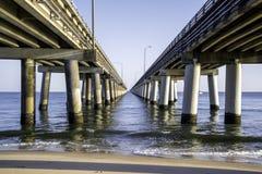 Chesapeake Bay Bridge. Between the spans of the Chesapeake Bay Bridge, Virginia Beach side of the Chesapeake Bay (Chicks Beach Stock Photos