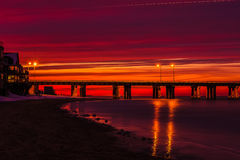 Chesapeake bay bridge tunnel Sunset. A snowy evening on the chesapeake bay Royalty Free Stock Photos