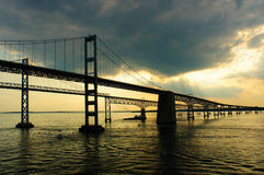 Chesapeake Bay Bridges from a cruise ship deck Stock Photography