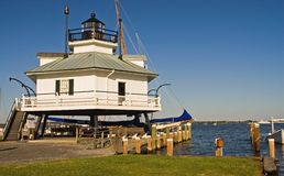 Chesapeake Bay Lighthouse. This is the restored Hooper Strait Lighthouse at the Chesapeake Maritime Museum, St. Michaels, Maryland.  It warned mariners of Stock Image