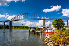 The Chesapeake City Bridge, over the Chesapeake and Delaware Can Royalty Free Stock Photo