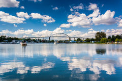 The Chesapeake City Bridge over the Chesapeake and Delaware Cana Royalty Free Stock Photos