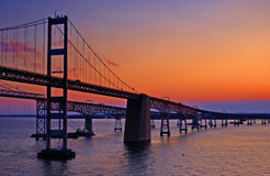 Chesapeake de Brug van de Baai in Dawn stock foto