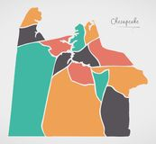 Chesapeake Virginia Map con le vicinanze e le forme rotonde moderne illustrazione di stock