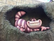 Cheshire cat detail at disneyland los angeles. Landscape alice in wonderland royalty free stock photos