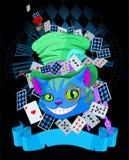 Cheshire Cat en diseño del sombrero de copa Fotografía de archivo