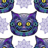 Cheshire cat head from the fairy tale Alice in Wonderland . Seamless pattern, background. Stock line vector illustration stock illustration