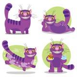 Cheshire Cat Illustration aux aventures de l'Alice de conte de f?es au pays des merveilles Chat pourpre avec un grand sourire illustration de vecteur