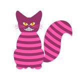 Cheshire Cat Magiskt djur med den långa svansen Randig Â-saga stock illustrationer