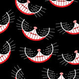 Cheshire cat Smile seamless pattern. Vector background. stock photos