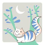 Cheshire Cat smiles under the crescent shaped moon. The Cheshire Cat, character of Alice in Wonderland tale, smiling over a brunch, under the moon, in a night stock illustration