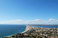 Chesil Beach. View over chesil beach. located between portland & weymouth Royalty Free Stock Photo