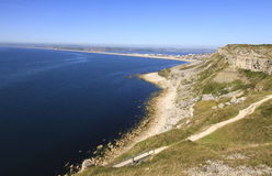 Chesil Beach, Dorset, England. View of Chesil Beach from Portland, overlooking Weymouth Stock Image