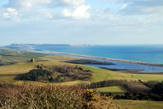 Chesil Beach and Portland. Chesil Beach and Isle of Portland, Dorset, England Royalty Free Stock Photo