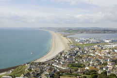 Chesil Beach from Portland, Dorset Royalty Free Stock Photos