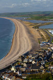 The Chesil Beach, seen from Portland Bill. Chesil bank, viewed from Portland Bill. Weymouth, Dorset, England, United Kingdom Stock Photography
