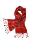 cheskered isolerad röd scarfwhite Arkivfoto
