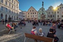 Chesky Krumlov, Tschechische Republik - 22. Juli 2018: Historische Mitte alter Stadt Chesky Krumlov in der böhmischen Südregion lizenzfreies stockfoto