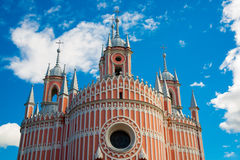 Chesme Church. Church of St John the Baptist Chesme Palace in Saint Petersburg, Russia. Beautiful Chesme Church on the background of blue sky with clouds. Church Stock Photography