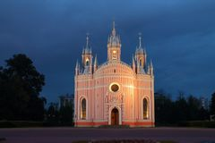 Chesme Church on a summer night. Russia, Saint-Petersburg, summer, night. The Church of the Nativity of St. John Predtechi (Chesme). The architectural Royalty Free Stock Images
