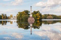 Chesme Column  and Grotto pavilion in Catherine park, Tsarskoye Stock Photography