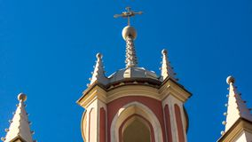 Chesme Gothic church.  Church of St John the Baptist Chesme Palace in Saint Petersburg,. St. Petersburg, Russia – April 10, 2018 : Chesme Gothic church Royalty Free Stock Photos
