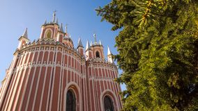 Chesme Gothic church.  Church of St John the Baptist Chesme Palace in Saint Petersburg, Royalty Free Stock Photos