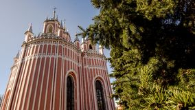 Chesme Gothic church.  Church of St John the Baptist Chesme Palace in Saint Petersburg, Stock Images