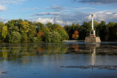 Chesmekolom in het park van Catherine, St. Petersburg, Rusland Stock Fotografie
