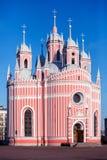 Chesme Orthodox Church, St. Petersburg, Russia. Chesmen (Chesmenskaya) Orthodox Church,  (1780), St. Petersburg, Russia. Architect Yury Felten. The earliest Neo Stock Image